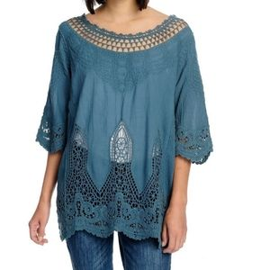 Woven & Crochet Lace Embroidered Tunic Top Size 1X/2X